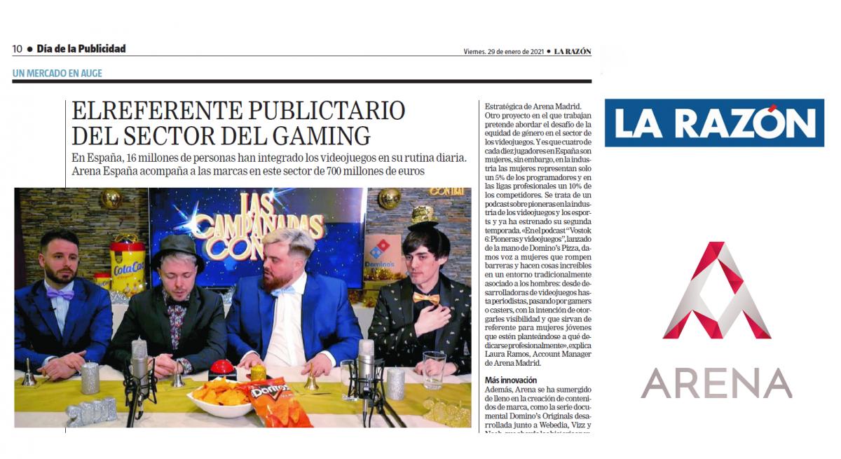 El referente publicitario del sector del gaming – Arena PLAY en La Razón
