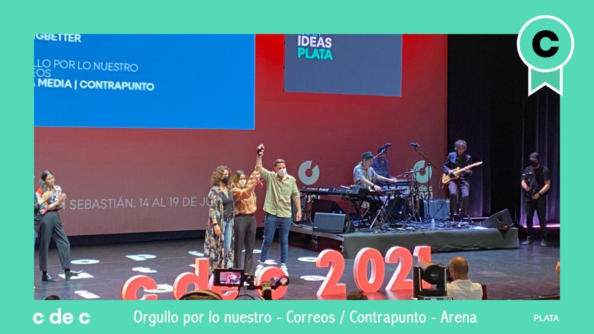 Plata en Ideas en el c de c 2021 para Arena, Contrapunto y Correos
